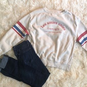 Zara Girls sweatshirt off white with stripe